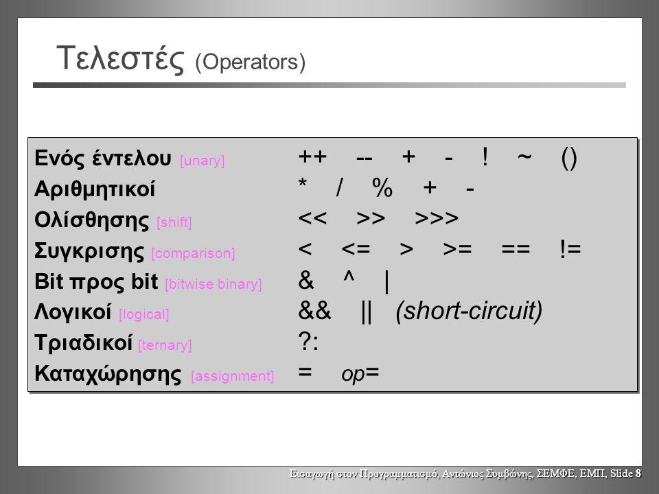 Τελεστές (Operators) Ενός έντελου [unary] ++ -- + - ! ~ ()